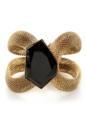 The Sorceress's Stone Gold Cuff Bracelet