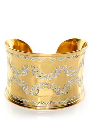 Obey Versailles Engraved Brass Cuff