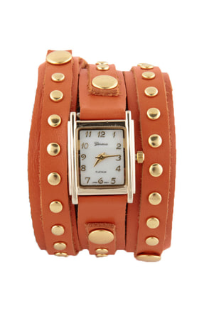 Times Square Wraparound Orange Leather Watch