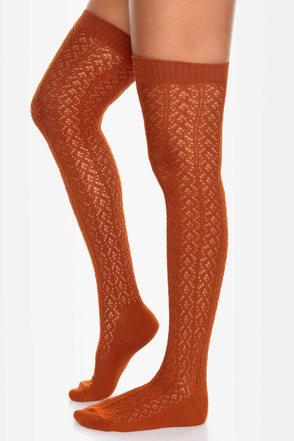 Tabbisocks Kawaii Crocheted Burnt Orange Over the Knee Socks