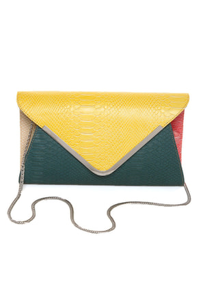 For Goodness' Snake Yellow and Teal Snakeskin Clutch