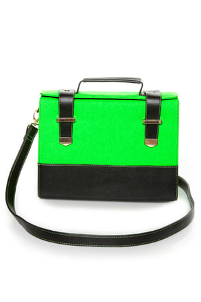 Steady As She Glows Neon Green and Black Purse