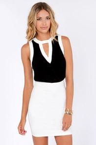 Take a Peek Black and White Sleeveless Top at Lulus.com!