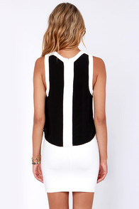 Take a Peek Black and White Sleeveless Top at Lulus.com!