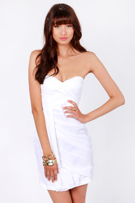 Midnight Masquerade Strapless White Dress at Lulus.com!