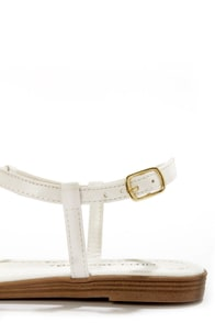 City Classified Born White and Gold Thong Sandals at Lulus.com!