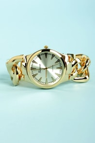 Time Chains Yellow Gold Watch at Lulus.com!