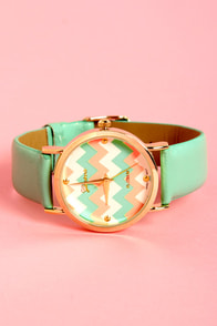 Chevron Time Mint Green Chevron Print Watch at Lulus.com!