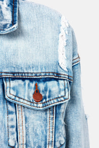 Out of the Blue Distressed Denim Jacket at Lulus.com!