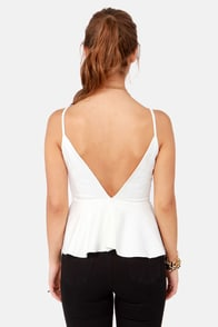 Pep'd Woman Ivory Peplum Top at Lulus.com!