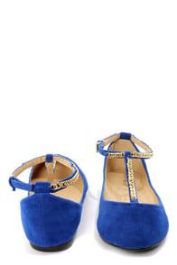 Bamboo Zelous 01 Blue Chain T-Strap Ballet Flats at Lulus.com!