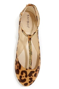Bamboo Zelous 01 Leopard Print Chain T-Strap Ballet Flats at Lulus.com!
