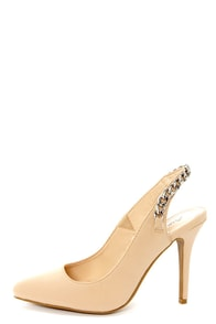 Anne Michelle Momentum 32 Nude Chain Slingback Pumps at Lulus.com!