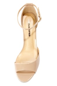 City Classified Tupper Dark Beige Patent Peep Toe Kitten Heels at Lulus.com!