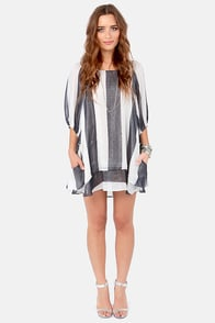 Lucy Love Gabriella Navy Blue and Ivory Striped Dress at Lulus.com!