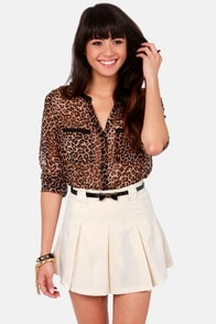 Status Bow Cream Belted Skirt at Lulus.com!
