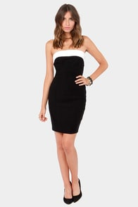 Little Bow Peek Strapless White and Black Dress at Lulus.com!