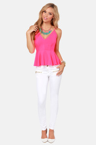 Love At First Bright Neon Pink Peplum Tank Top at Lulus.com!