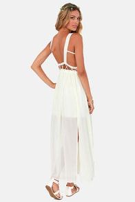 Stitch-y Woman Ivory Maxi Dress at Lulus.com!