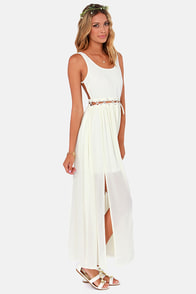 Stitch-y Woman Ivory Maxi Dress at Lulus.com!