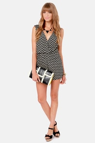 Great Inclinations Beige and Black Chevron Print Romper at Lulus.com!