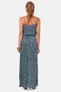 Spot-an Living Blue and Grey Print Maxi Dress at Lulus.com!