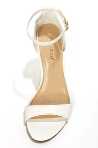 Bamboo Gorgy 01 White Single Strap Wedges at Lulus.com!