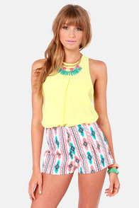 Southwest Quest Cream Print Shorts at Lulus.com!