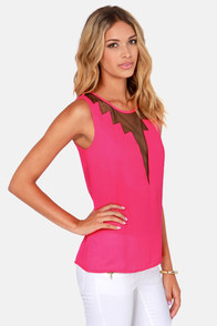 Cuts and Bolts Fuchsia Pink Top at Lulus.com!