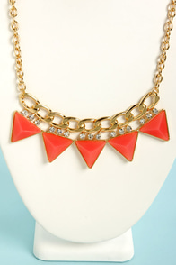 Focal Point Coral Triangle Necklace at Lulus.com!