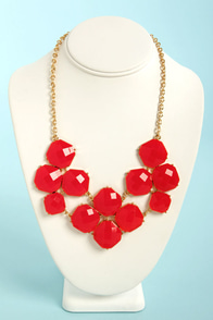 Jewel-cy Fruit Red Statement Necklace