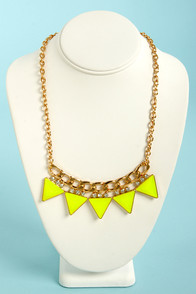 Focal Point Highlighter Yellow Triangle Necklace at Lulus.com!