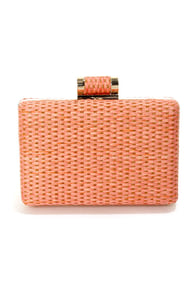 Seeing is Be-weaving Woven Coral Clutch at Lulus.com!