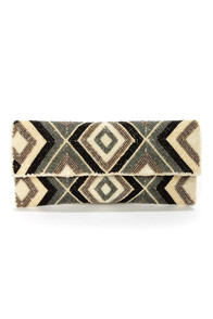 Diamond If I Do Black and Grey Beaded Clutch at Lulus.com!
