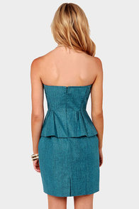 Aryn K Sweet Caro-Linen Denim Blue Strapless Dress at Lulus.com!