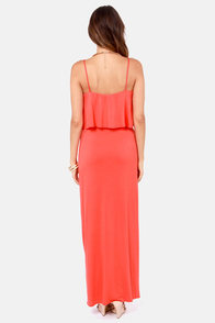 LULUS Exclusive Flounce Back Coral Red Maxi Dress at Lulus.com!