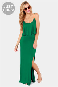 LULUS Exclusive Flounce Back Green Maxi Dress