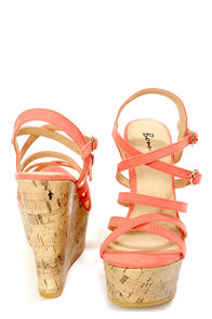Amya 1 Coral Strappy Platform Wedge Sandals at Lulus.com!