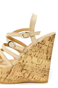 Amya 1 Camel Strappy Platform Wedge Sandals at Lulus.com!