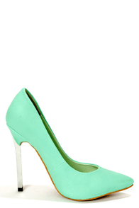 Privileged Lavish Mint Silver Heeled Pointed Pumps at Lulus.com!
