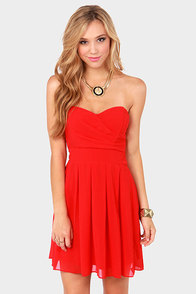 TFNC Elida Strapless Red Dress