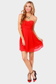 TFNC Elida Strapless Red Dress at Lulus.com!
