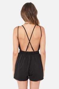 Reverse Rompin' Empire Backless Black Romper at Lulus.com!