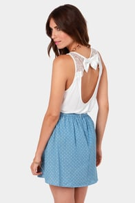 A La Bow-ed Ivory Lace Tank Top at Lulus.com!