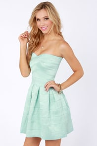 Bell Curves Ahead Strapless Mint Blue Bandage Dress at Lulus.com!
