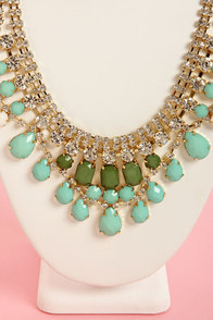 The Bling and I Green Rhinestone Necklace at Lulus.com!
