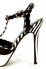 Shoe Republic LA Yanni Black and White Striped Platform Heels at Lulus.com!