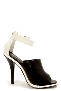 Shoe Republic LA Joan Black and White Peep Toe High Heels at Lulus.com!