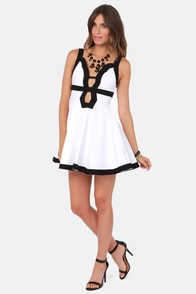 Forget-Me-Not Cutout Black and White Dress at Lulus.com!