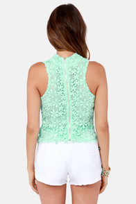 Victoria Mint Green Lace Top at Lulus.com!